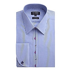 Stvdio by Jeff Banks - Stvdio by Jeff Banks Blue Dobby Stripe Shirt