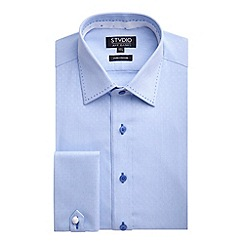 Stvdio by Jeff Banks - Stvdio by Jeff Banks Light Blue Dobby Fine Stripe Shirt