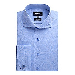 Stvdio by Jeff Banks - Stvdio by Jeff Banks Blue Paisley Jacquard Shirt
