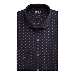 Stvdio by Jeff Banks - Stvdio by Jeff Banks Black Geo Jacquard Shirt