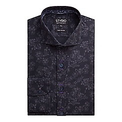 Stvdio by Jeff Banks - Stvdio by Jeff Banks Black Tonal Floral Print Shirt