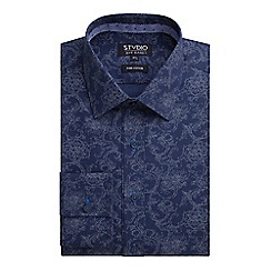 Stvdio by Jeff Banks - Navy Tonal Scroll Print Shirt