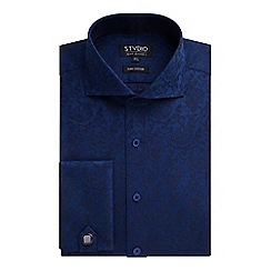 Stvdio by Jeff Banks - Stvdio by Jeff Banks Navy Floral Jacquard Shirt