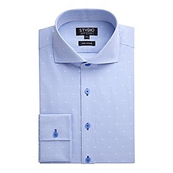 Stvdio by Jeff Banks - Stvdio by Jeff Banks Light Blue Jacquard Fine Stripe Shirt