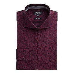 Stvdio by Jeff Banks - Stvdio by Jeff Banks Wine Floral Jacquard Shirt