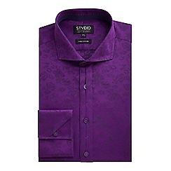 Stvdio by Jeff Banks - Stvdio by Jeff Banks Violet Floral Jacquard Shirt