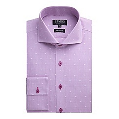 Stvdio by Jeff Banks - Stvdio by Jeff Banks Pink Jacquard Fine Stripe Shirt