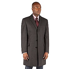 Racing Green - Racing Green Charcoal herringbone overcoat