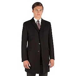 Ben Sherman - Ben Sherman Black melton 3 button kings slim fit overcoat