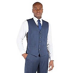 BEN SHERMAN - Ben Sherman Dark blue textured 5 button front slim fit kings suit waistcoat