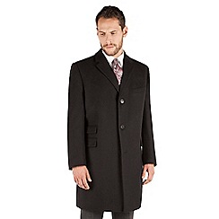 Karl Jackson - Karl Jackson Black melton regular fit overcoat