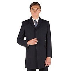 Red Herring - Red Herring Navy herringbone 3 button slim fit overcoat