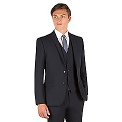 Red Herring - Navy micro design 2 button slim fit suit jacket
