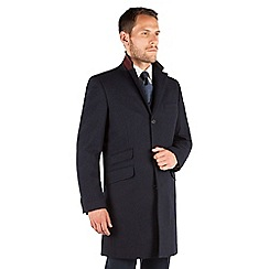 Stvdio by Jeff Banks - Stvdio by Jeff Banks Navy Herringbone Overcoat