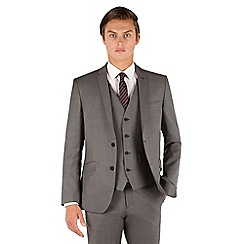 J by Jasper Conran - J by Jasper Conran Grey pindot 2 button front slim fit occasions suit jacket