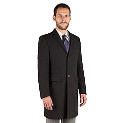 J by Jasper Conran - Charcoal tonal check 3 button front tailored fit coat
