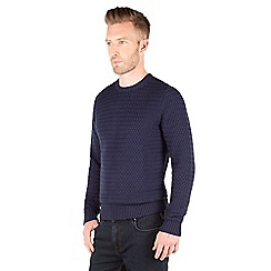 Racing Green - Quaint Textured Crew Neck Jumper