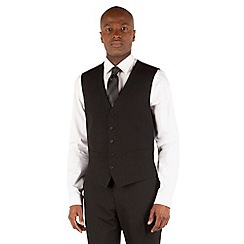The Collection - Black plain 5 button front waistcoat