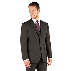 The Collection - Charcoal plain regular fit 2 button suit