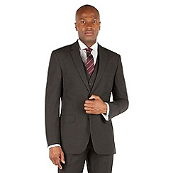 The Collection - Charcoal plain tailored fit 2 button suit
