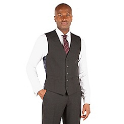 The Collection - Charcoal plain 5 button front waistcoat