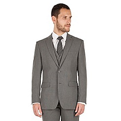 The Collection - Grey semi plain regular fit 2 button suit jacket