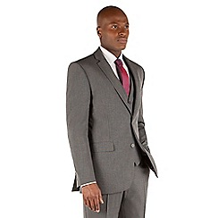 The Collection - Grey semi plain tailored fit 2 button suit jacket