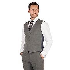 The Collection - Grey semi plain 5 button front waistcoat