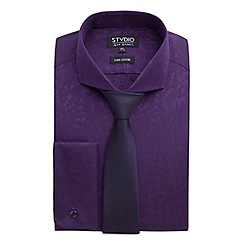 Stvdio by Jeff Banks - Stvdio By Jeff Banks Purple Jacquard Shirt & Tie Boxed Set