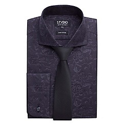 Stvdio by Jeff Banks - Stvdio by Jeff Banks Black Jacquard Shirt & Tie Boxed Set