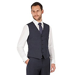 The Collection - Navy semi plain 5 button front waistcoat