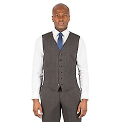 Hammond & Co. by Patrick Grant - Hammond & Co. by Patrick Grant Grey tonal check 6 button tailored fit suit waistcoat
