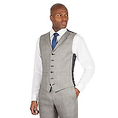 Hammond & Co. by Patrick Grant - Grey check 6 button front tailored fit savile row suit waistcoat