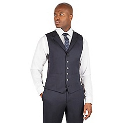Hammond & Co. by Patrick Grant - Hammond & Co. by Patrick Grant Blue textured 6 button front tailored fit savile row suit waistcoat