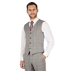 J by Jasper Conran - Grey check 4 button front tailored fit occasions suit waistcoat