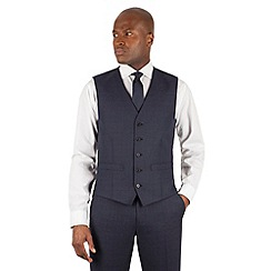 The Collection - Blue tonal check 5 button front waistcoat