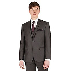 Red Herring - Charcoal pindot slim fit 2 button front suit jacket