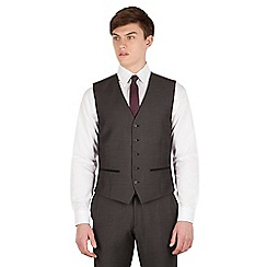 Red Herring - Charcoal pindot slim fit 5 button front waistcoat