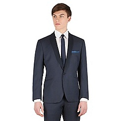 Red Herring - Navy pindot contrast shawl collar slim fit 1 button suit