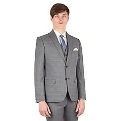 Red Herring - Grey with blue overcheck slim fit 2 button front suit jacket
