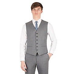 Red Herring - Grey with blue overcheck 5 button slim fit suit waistcoat