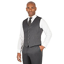 Centaur Big & Tall - Charcoal semi plain 5 button front suit waistcoat