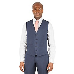Racing Green - Blue tonal puppytooth 5 button front waistcoat