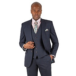 Racing Green - Blue check tailored fit 2 button suit jacket