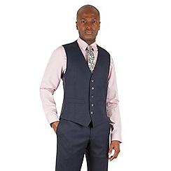 Racing Green - Blue check 5 button front waistcoat
