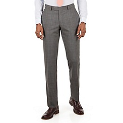 Racing Green - Grey tonal check tailored fit suit trouser