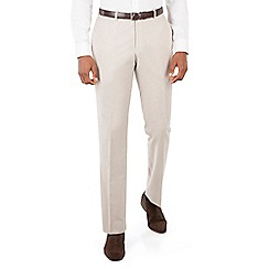 Racing Green - Oatmeal linen plain front tailored fit suit trouser