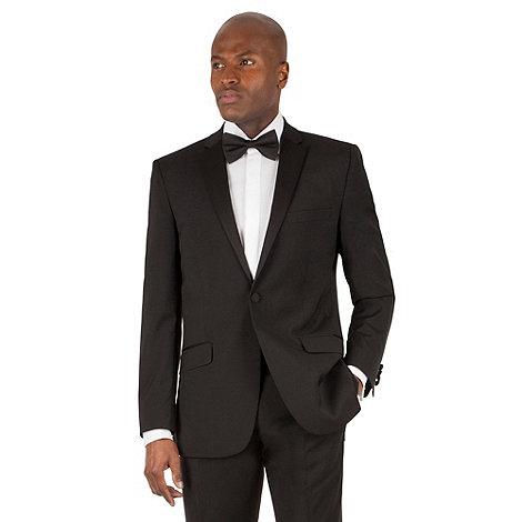Racing Green - Black plain weave tailored fit 1 button dress wear suit jacket.