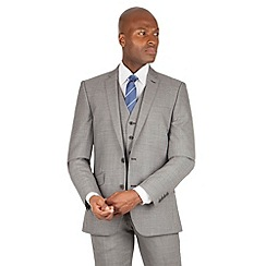 Ben Sherman - Light grey textured plain 2 button front slim fit kings suit jacket