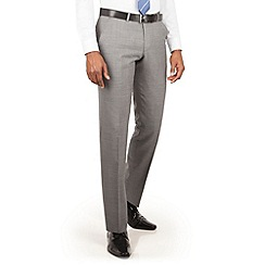 BEN SHERMAN - Light grey textured plain front slim fit kings suit trouser